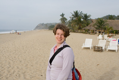 Cathy on the beach in Costa Azul